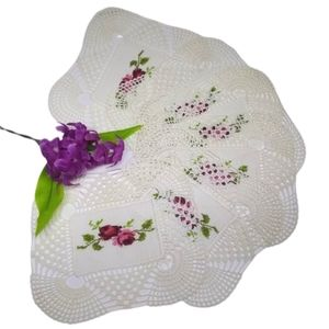 6 Crochet Doilies Set Embroidered Red/Pink Roses
